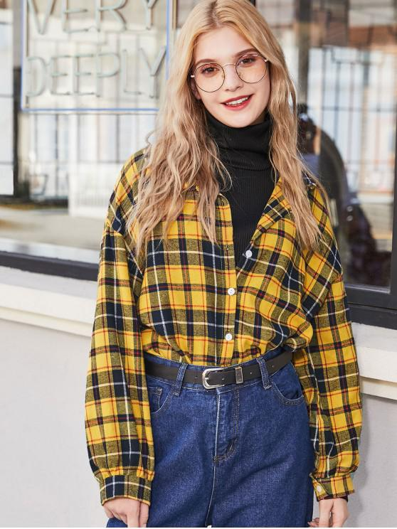 women Plaid Flannel Drop Shoulder Shirt - YELLOW M