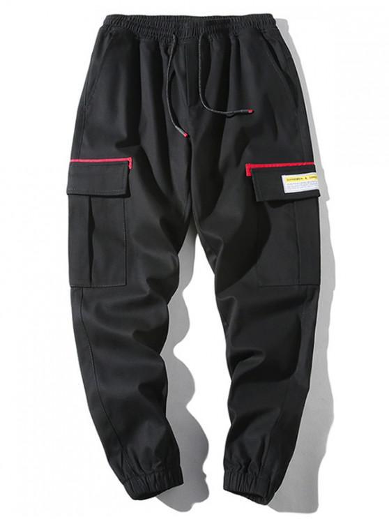 unique Applique Flap Pocket Drawstring Casual Jogger Pants - LAVA RED M