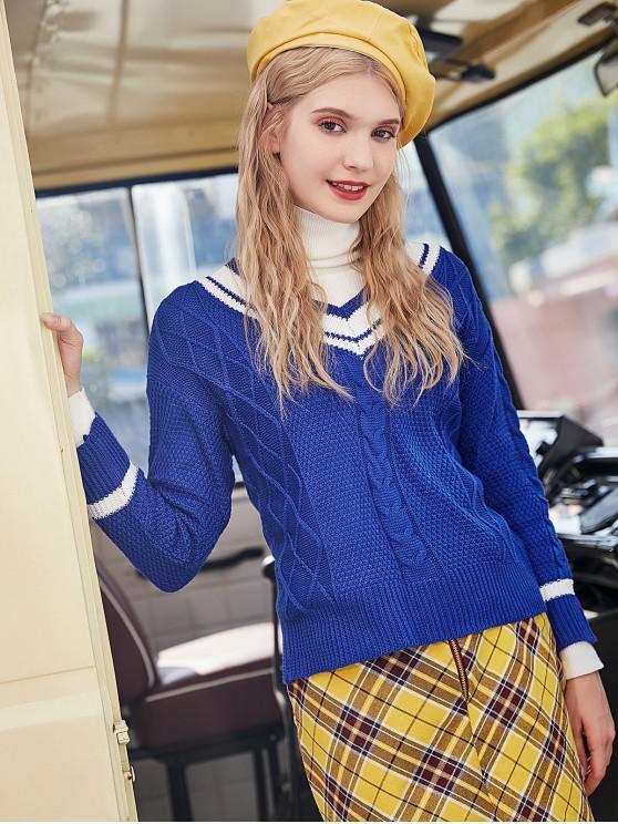 buy Cable Knit Drop Shoulder Cricket Sweater - BLUE M
