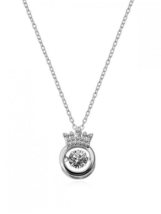 shops Hollow Crown Zircon Pendant Necklace - SILVER CROWN