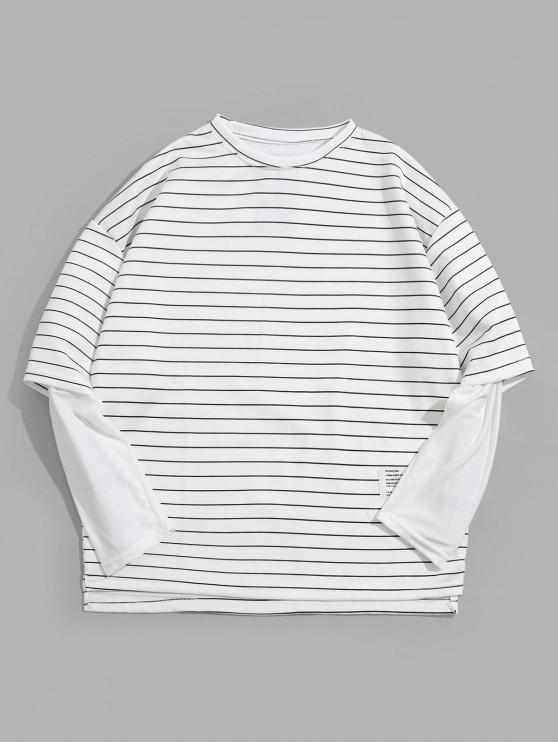 women Faux Two Pieces Striped Print Long-sleeved T-shirt - WHITE M