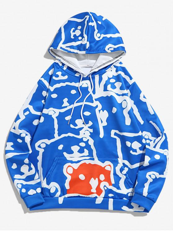 outfit Allover Animal Dog Print Drawstring Hoodie - SKY BLUE 4XL