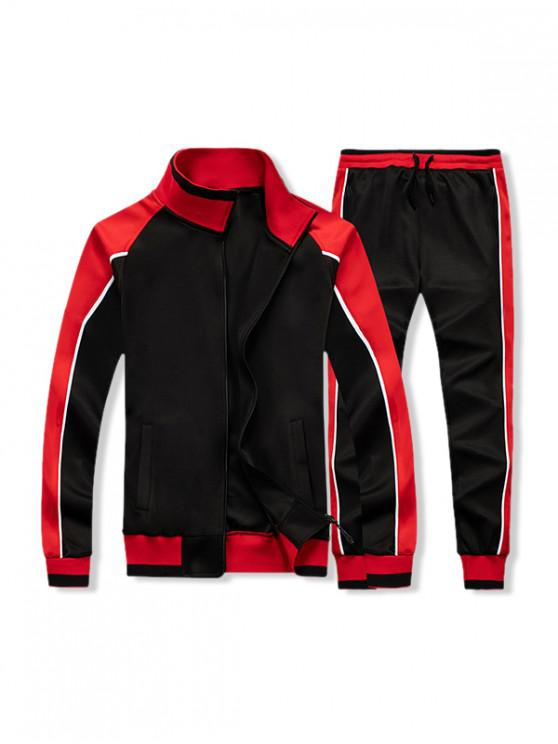 new Colorblock Splicing Two Piece Gym Outfits - BLACK L