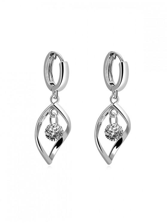 new Hollow Zircon Twist Drop Earrings - SILVER