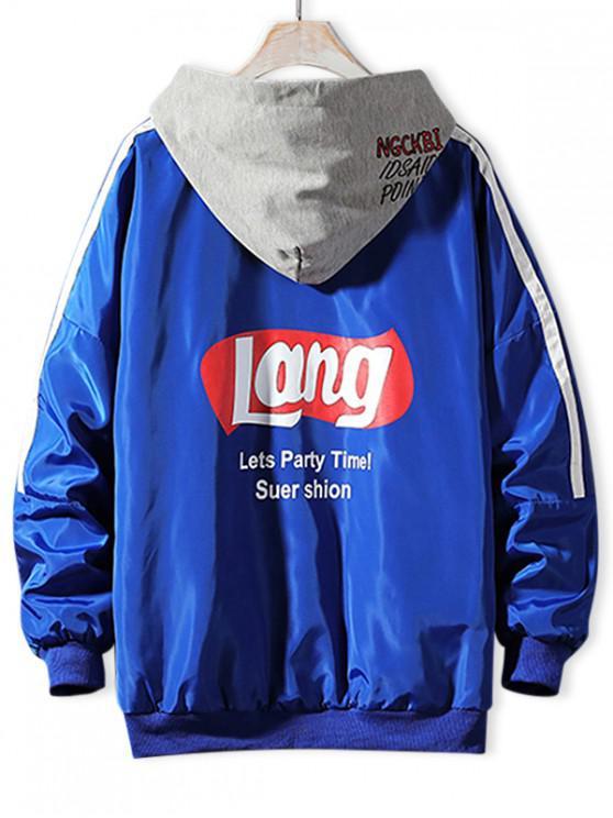 women Letter Graphic Print Colorblock Spliced Hood Jacket - COBALT BLUE 2XL