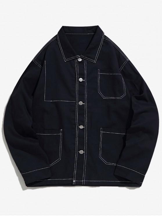 latest Turn Down Collar Stitching Pockets Casual Jacket - CADETBLUE L