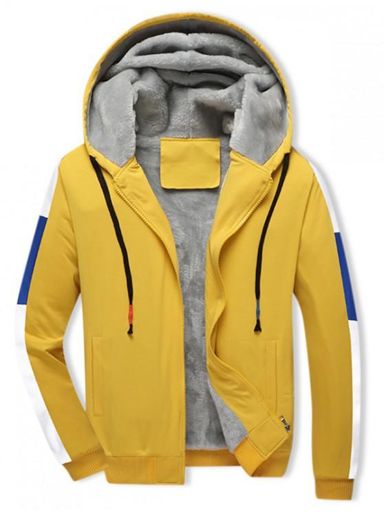 fancy Colorblock Spliced Plush Drawstring Hooded Jacket - SUN YELLOW M