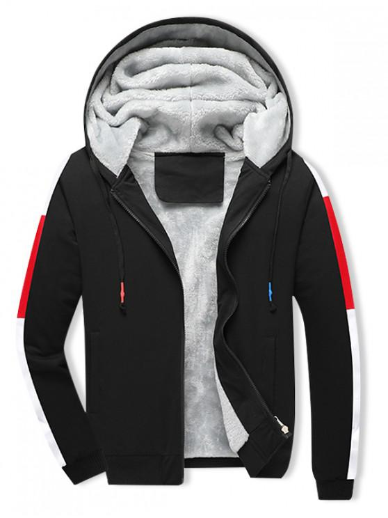 womens Colorblock Spliced Plush Drawstring Hooded Jacket - NIGHT M