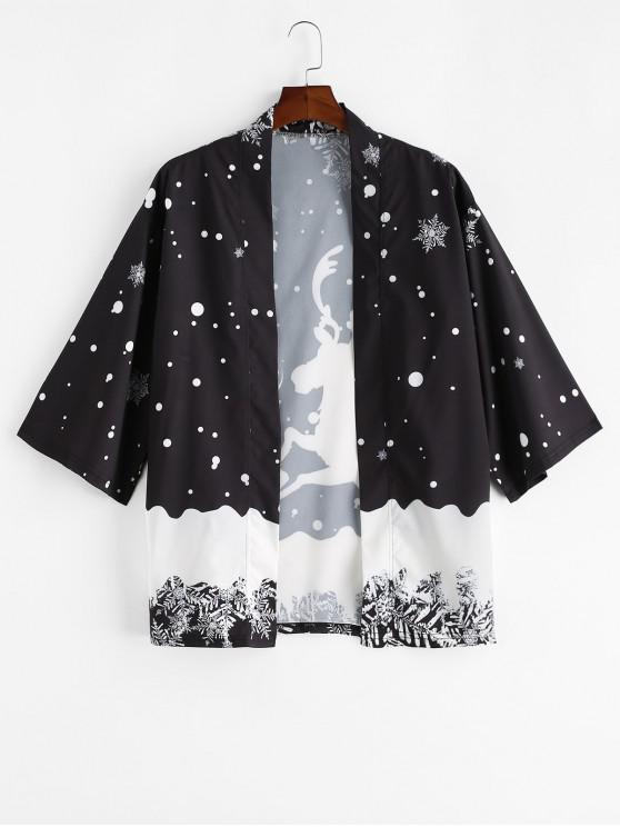 affordable Christmas Elk Snowflake Print Open Front Kimono Cardigan - BLACK L