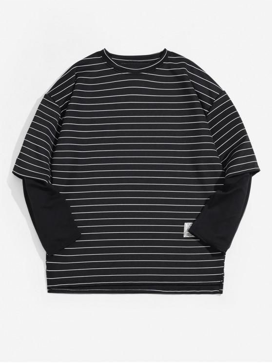 women's Faux Two Pieces Striped Print Long-sleeved T-shirt - BLACK 2XL