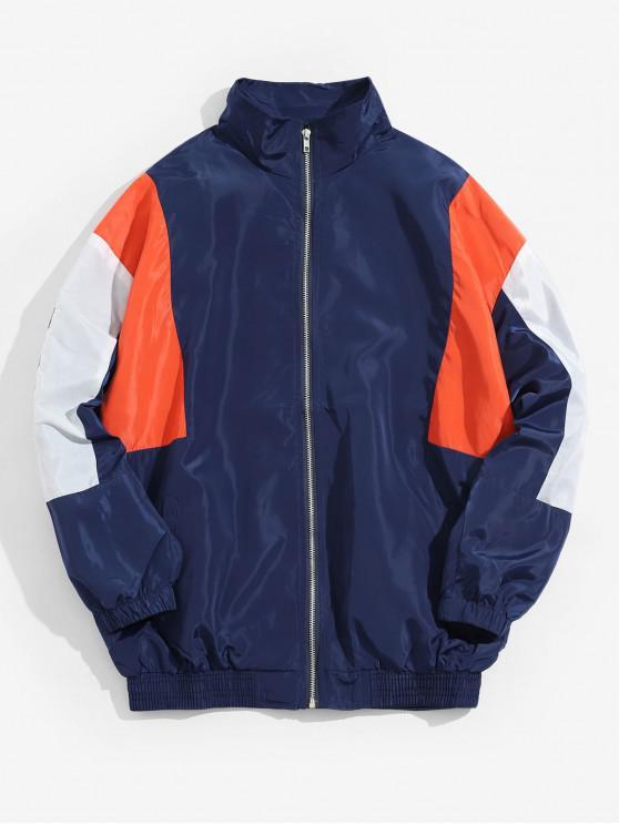 womens Color Blocking Letter Print Zipper Jacket - DEEP BLUE XL