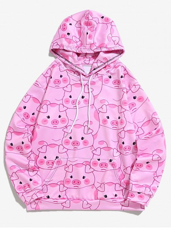 ladies Allover Piggy Print Kangaroo Pocket Casual Hoodie - PIG PINK M