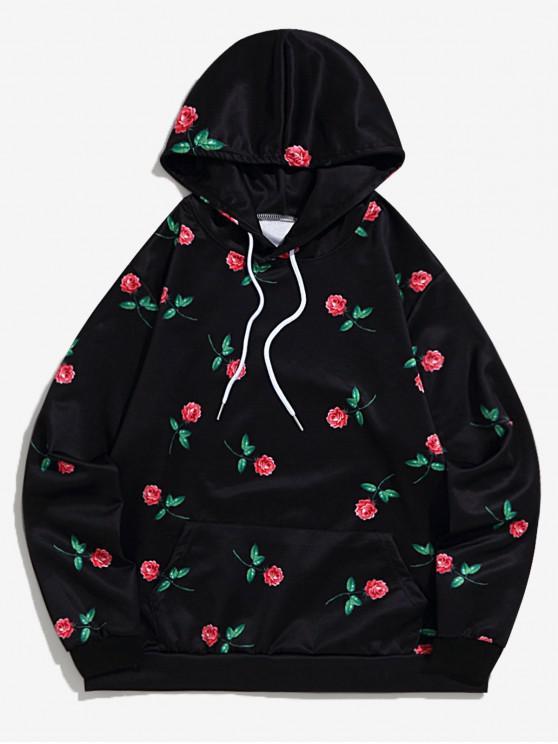 new Rose Flower Print Drawstring Hoodie - BLACK M
