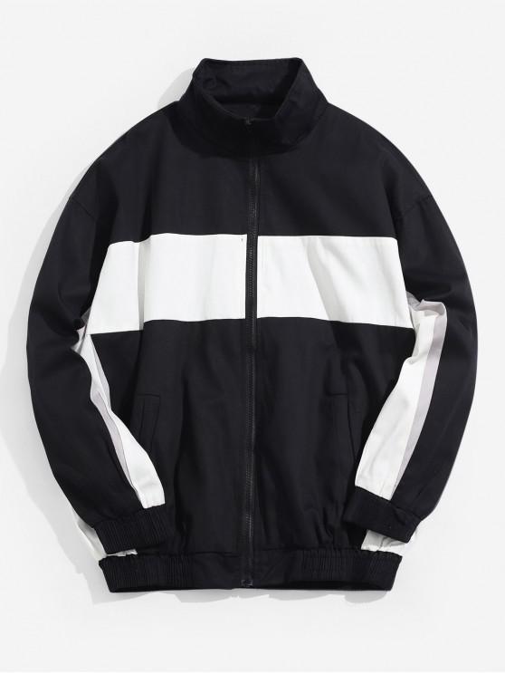 outfit Color Spliced Zip Up Pocket Jacket - BLACK M