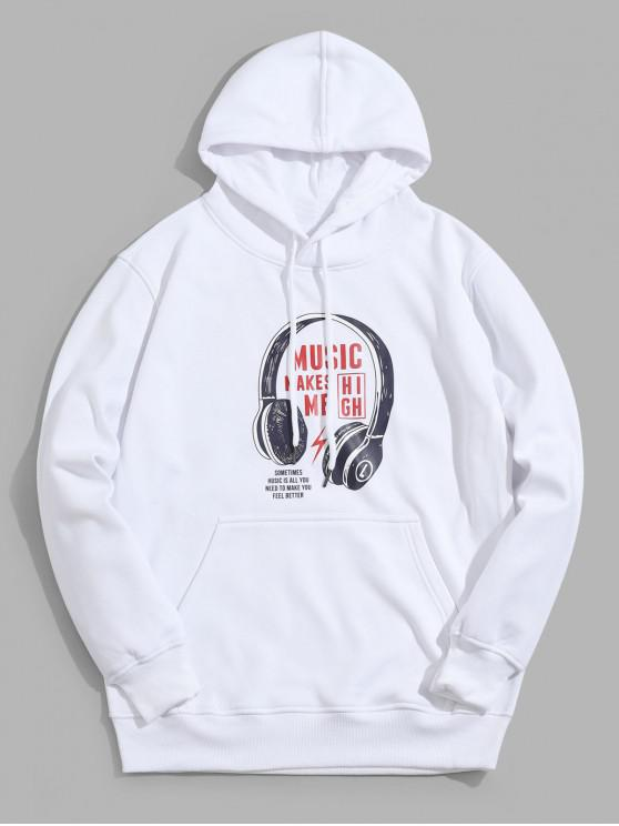 shop Letter Headphone Printed Pocket Hoodie - WHITE 3XL