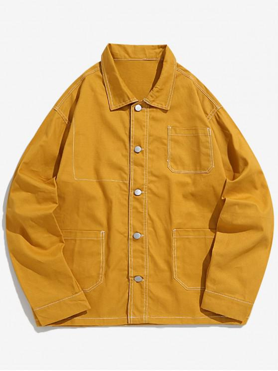 outfits Turn Down Collar Stitching Pockets Casual Jacket - YELLOW M