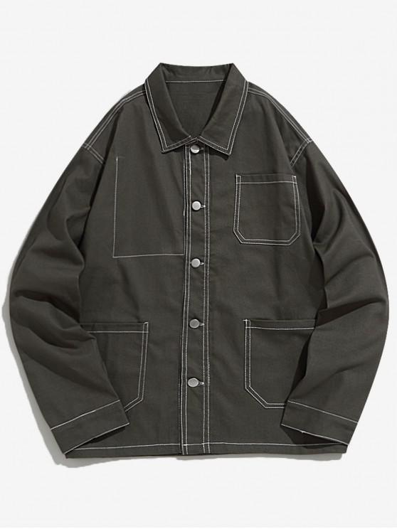 Lässige Jacke mit Revers , Stitching und Taschen - Armeegrün M