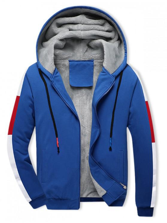 unique Colorblock Spliced Plush Drawstring Hooded Jacket - OCEAN BLUE 2XL
