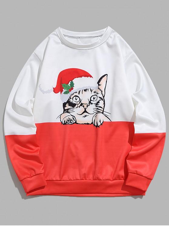 sale Colorblock Spliced Christmas Cat Print Pullover Sweatshirt - BEAN RED M