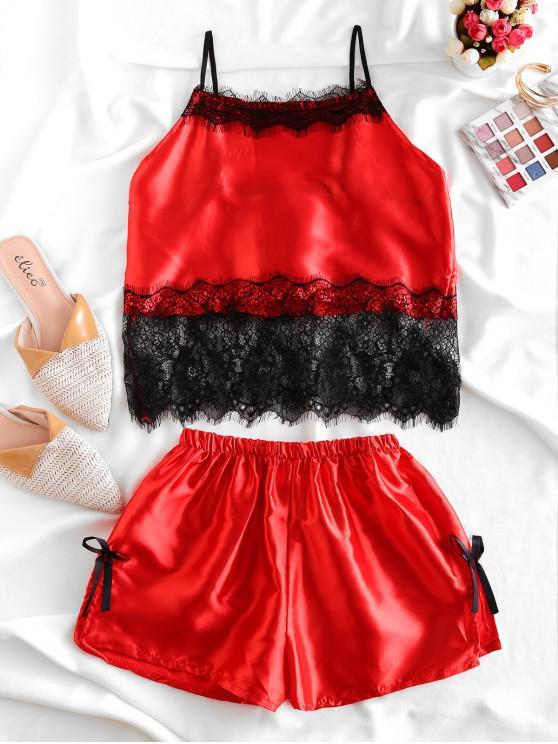 shop Bowknot Eyelash Lace Panel Satin Slit Pajamas Set - RED L