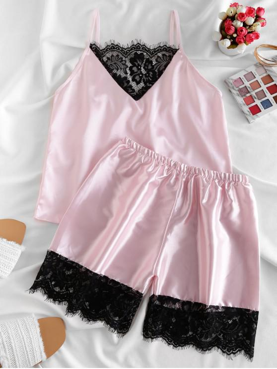ladies Satin Eyelash Lace Panel Pajamas Set - PINK M