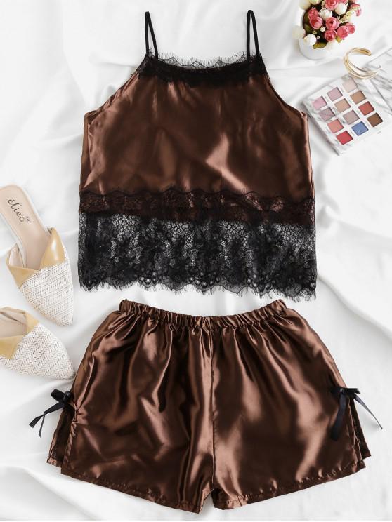 lady Bowknot Eyelash Lace Panel Satin Slit Pajamas Set - COFFEE L