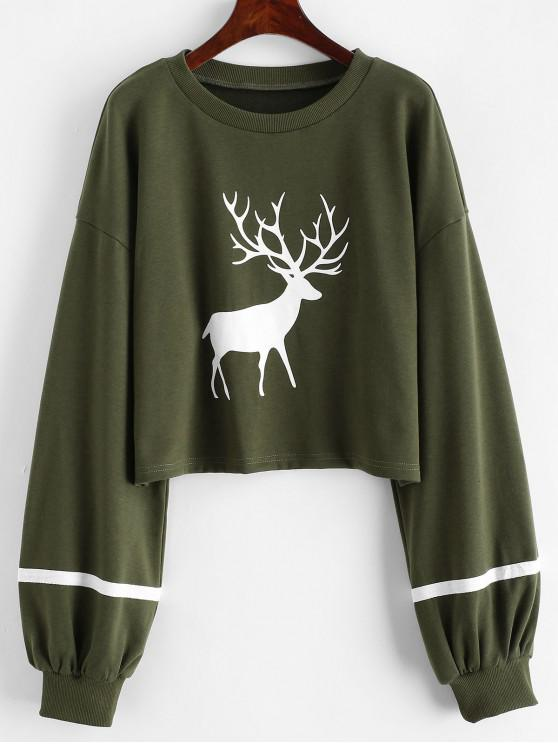 new Reindeer Striped Lantern Sleeves Christmas Sweatshirt - GREEN M