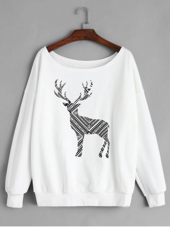 shops Christmas Elk Graphic Fleece Skew Collar Sweatshirt - WHITE S
