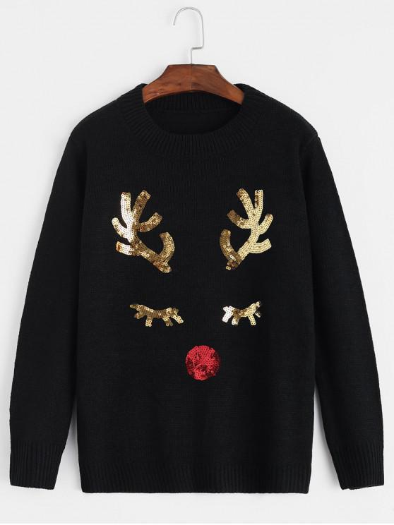 sale Christmas Sequined Elk Crew Neck Sweater - BLACK ONE SIZE