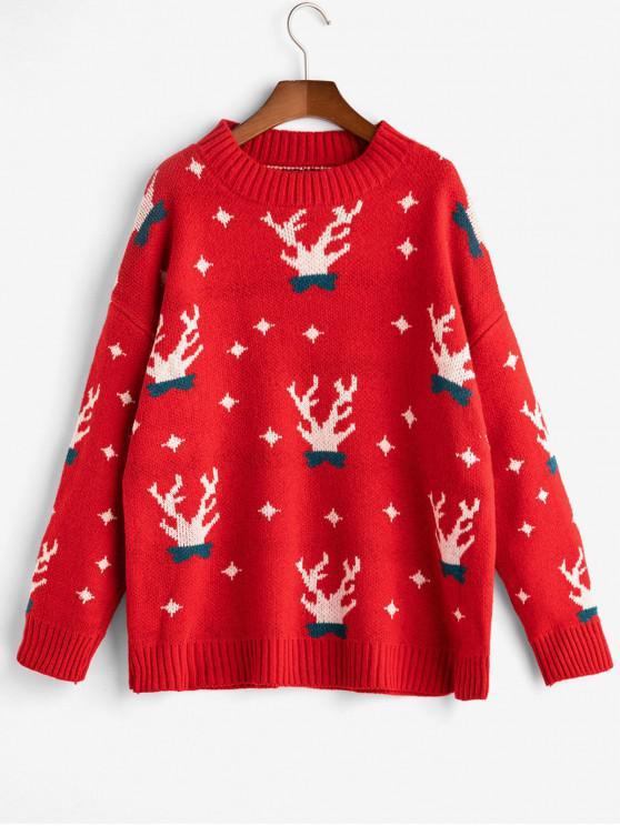shops Christmas Elk Drop Shoulder Jumper Sweater - RED ONE SIZE