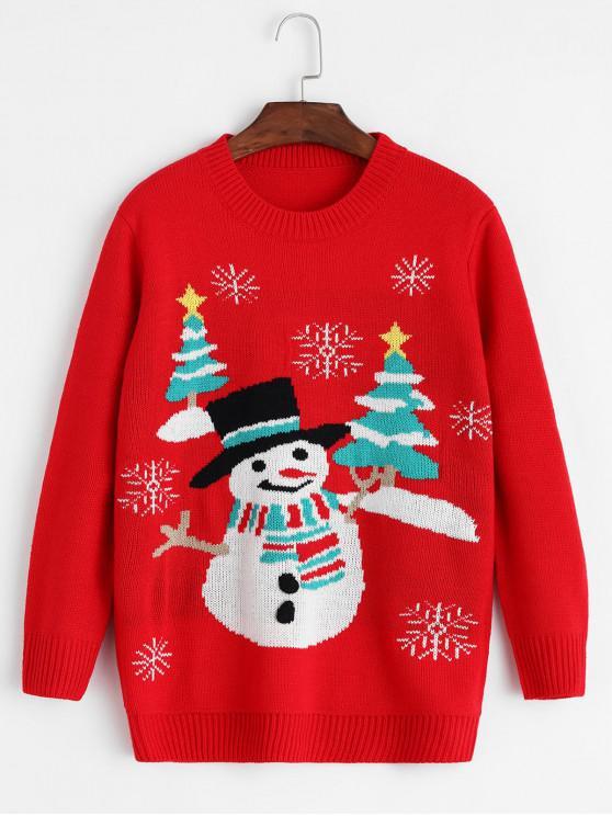 unique Christmas Snowman Snowflake Crew Neck Sweater - MULTI-A ONE SIZE
