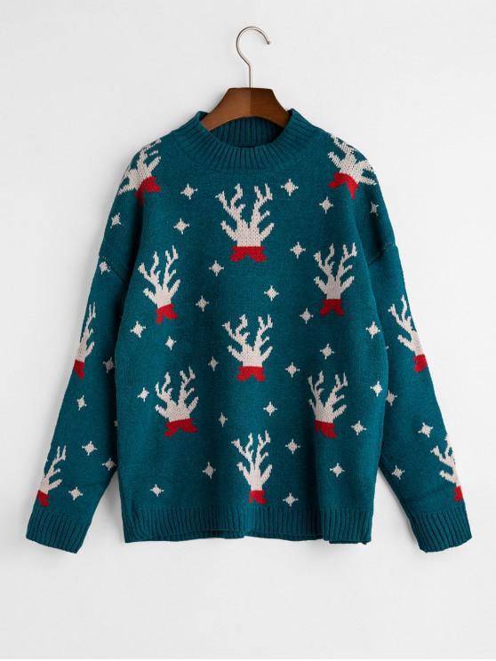 affordable Christmas Elk Drop Shoulder Jumper Sweater - PEACOCK BLUE ONE SIZE