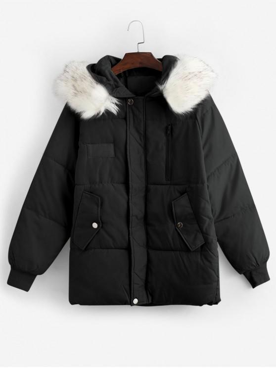 chic Flap Pocket Puffer Coat with Faux Fur Hood - BLACK L