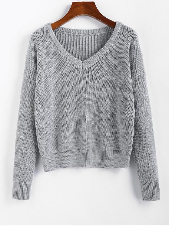 new ZAFUL X Luna Montana V Neck Drop Shoulder Plain Jumper Sweater - GRAY GOOSE L