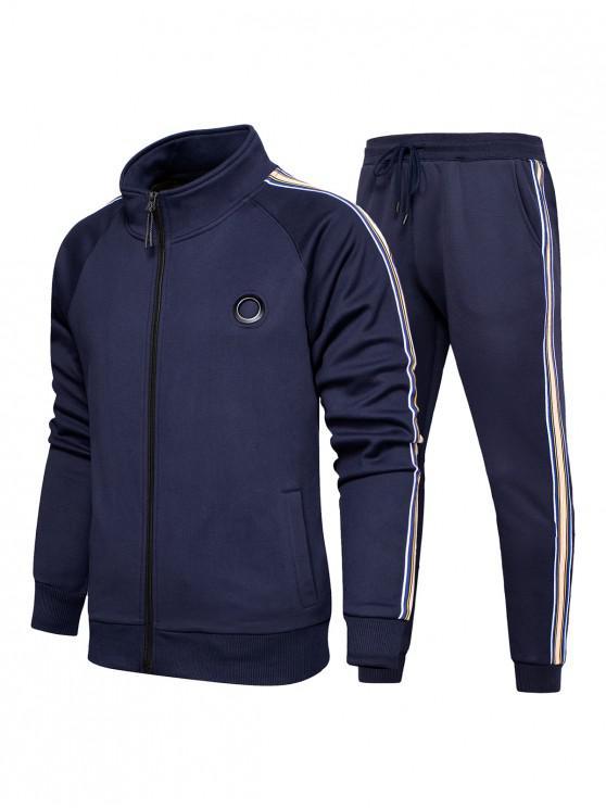 hot Striped Zipper Two Piece Gym Outfits - DARK SLATE BLUE 2XL