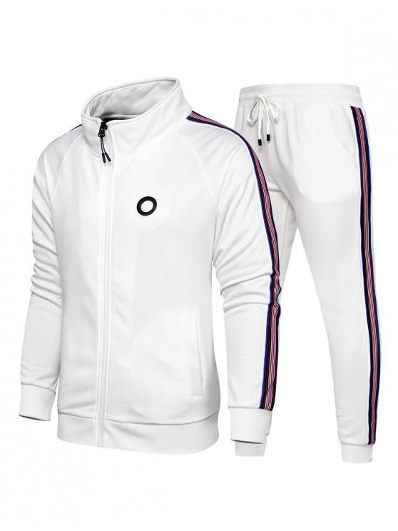 ladies Striped Zipper Two Piece Gym Outfits - MILK WHITE XL