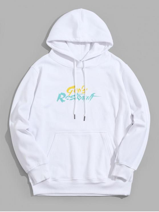 outfits Letter Graphic Print Casual Pocket Hoodie - WHITE M