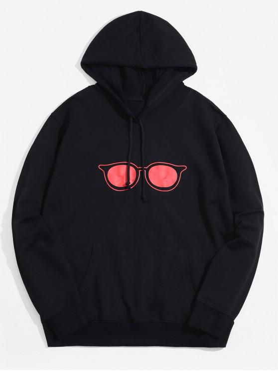 affordable Eyeglasses Graphic Kangaroo Pocket Lounge Hoodie - BLACK S