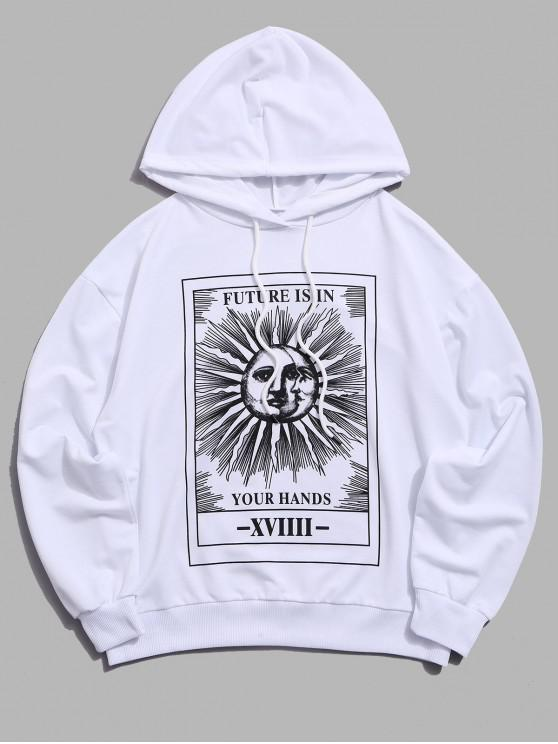 womens Sun Letter Graphic Drawstring Hoodie - WHITE L