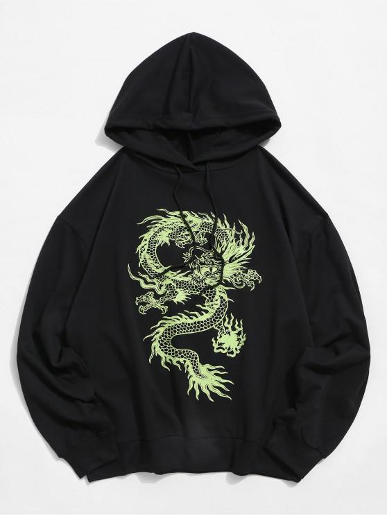 women Dragon Graphic Drawstring Loose Hoodie - BLACK S