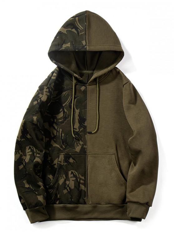 ladies Camouflage Design Splicing Drawstring Hoodie - ARMY BROWN XL