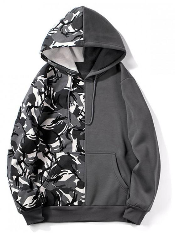 buy Camouflage Design Splicing Drawstring Hoodie - BATTLESHIP GRAY S