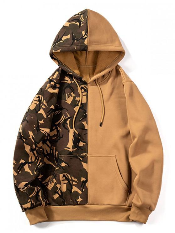 womens Camouflage Design Splicing Drawstring Hoodie - ORANGE GOLD S