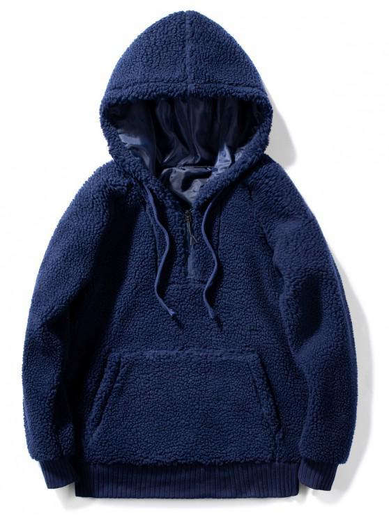 new Solid Faux Fur Fluffy Half Zip Hoodie - MIDNIGHT BLUE L
