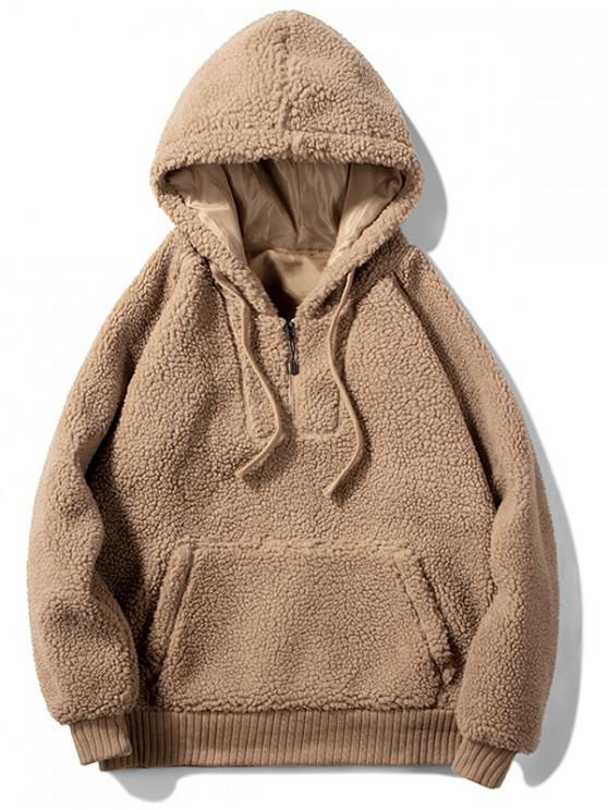Solide Kunstpelz Flauschige Halber Reißverschluss Hoodie - Braunes Kamel  M