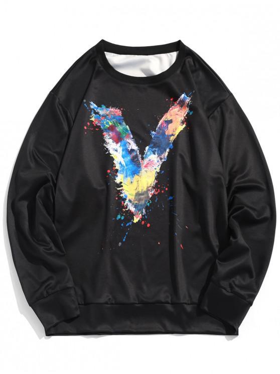 Buchstabe Malereidruck Fallschulter Sweatshirt - Schwarz M