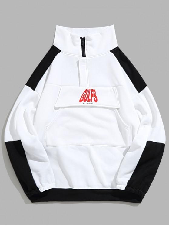shops Colorblock Spliced Letter Print Drop Shoulder Fleece Sweatshirt - WHITE L