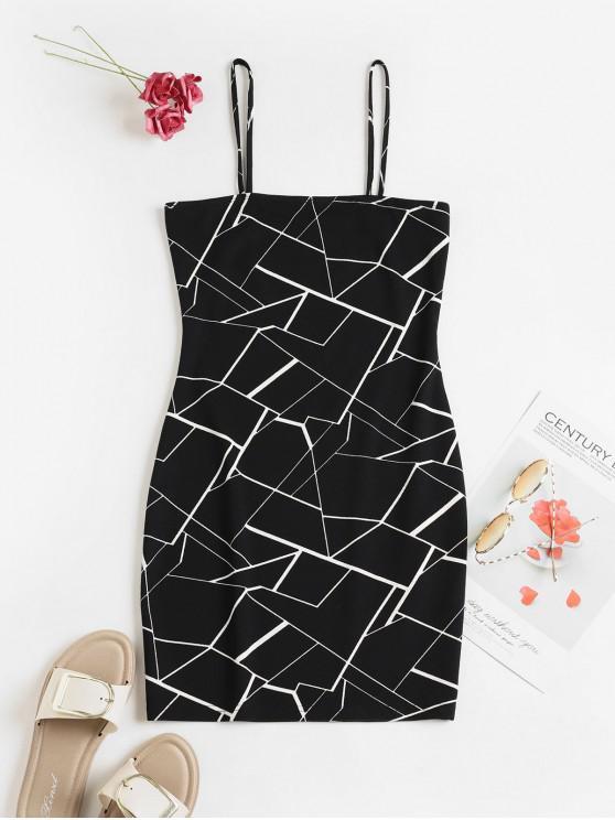 ZAFUL Геометрический принт Ками Облегающее Мини-Платье - Чёрный S