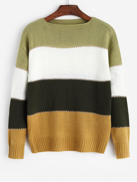 lady Colorblock Round Neck Drop Shoulder Sweater - YELLOW S