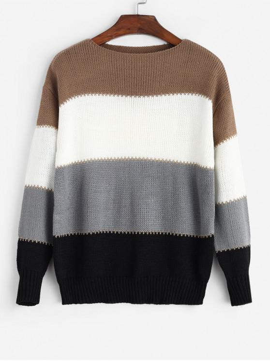 best Colorblock Round Neck Drop Shoulder Sweater - GRAY M
